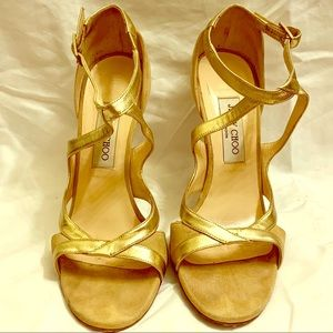 Jimmy Choo Shoes | sz 38.5 suede nude gold strap